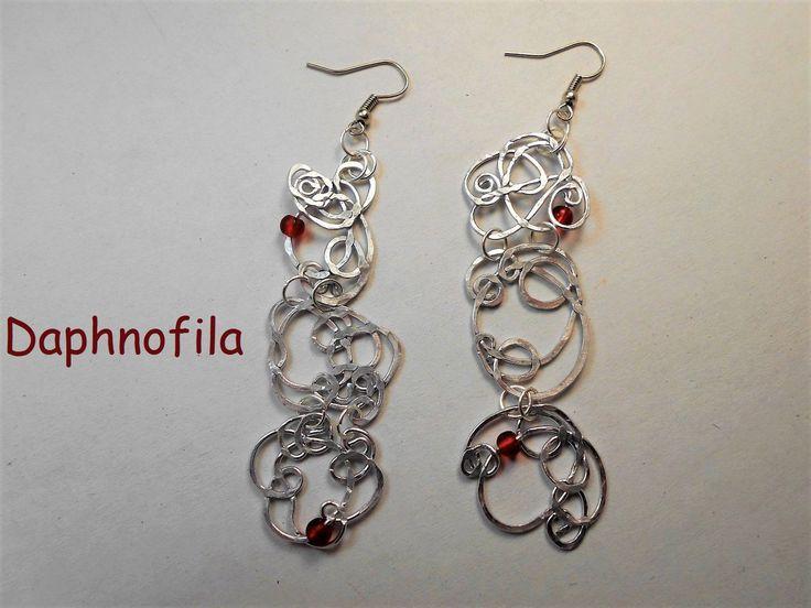 Aluminum earrings, Handmade earrings, Wire earrings, Jewelry for women, Daphnofila earrings, Greek fashion, A special gift for wife, Perfect by Daphnofila on Etsy