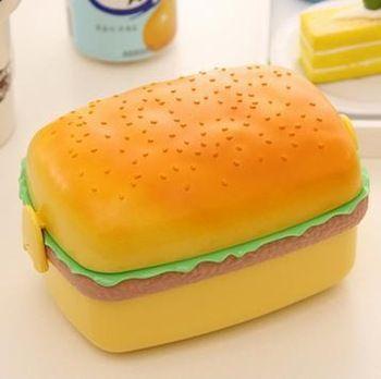 moda taşınabilir karikatür kare hamburger şekli mikrodalga sofra öğle çocuklar için kutu gıda konteyner ücretsiz nakliye