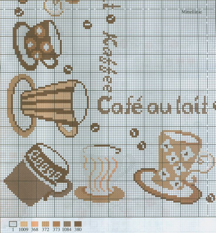 Coffee cups free cross stitch pattern from www.coatscraft.pl