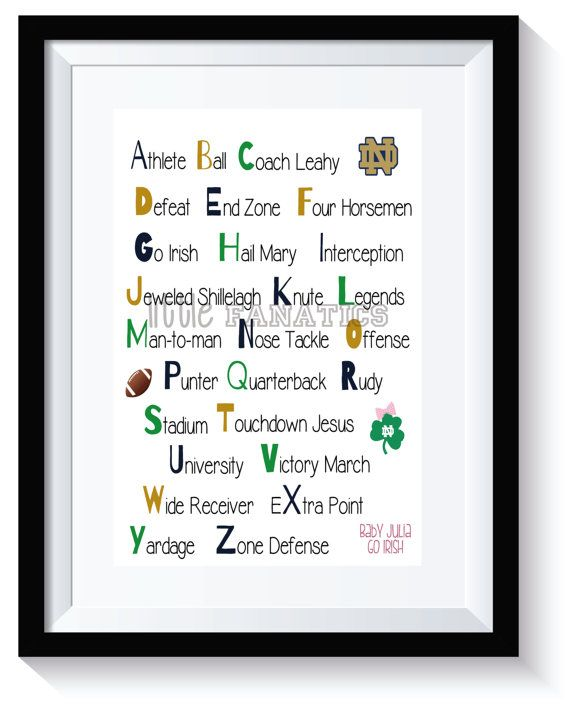 Notre Dame Irish Nursery Alphabet Art Print - Customized for boy or girl. So great for a baby shower gift.