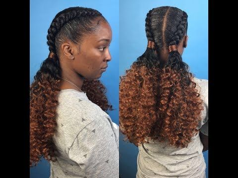 Two Feed In Braids With Curly Ponytails Youtube Hairstyles
