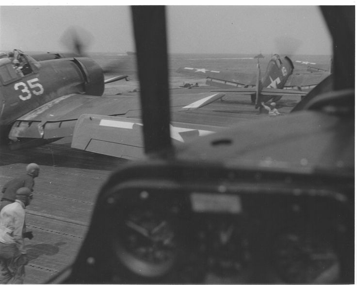 """F6F-5 Grumman Hellcat aircraft of VF-9 prepariing to launch from the flight deck of the USS Yorktown (CV-10)."" 1945. (National Museum of Naval Aviation: NNAM.1996.253.7177.033)"