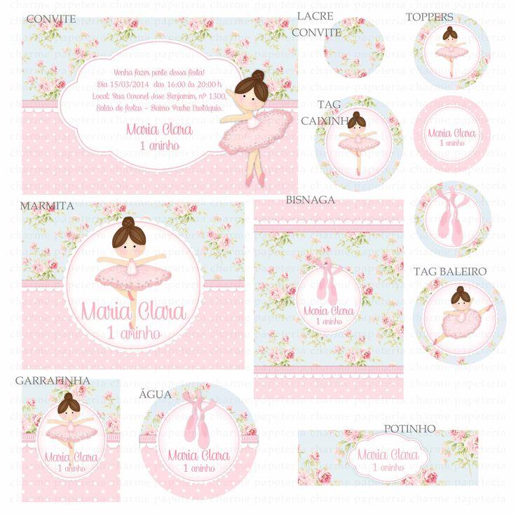 Kit digital Bailarina azul e rosa