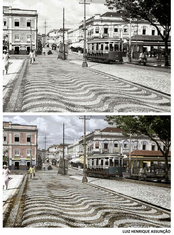 A saída do bonde da João Alfredo, colorida,1935. Belém