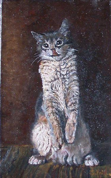 chat gourmand - Peinture,  16x27 cm ©2009 par Serge KRIEF - Peintre -                            Peinture contemporaine, chat, animaux, chats