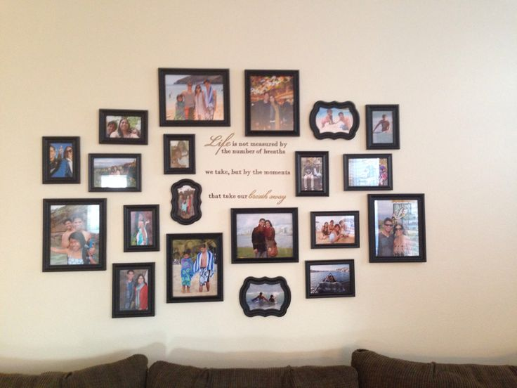 gallery wall in my living room...I eye-balled all the pics when I hung them & used commando strips instead of nails...super easy!