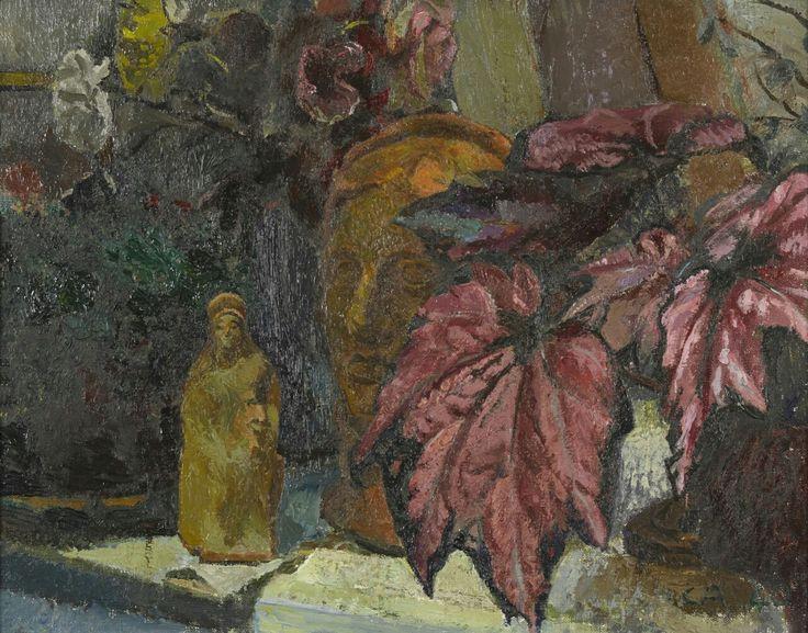 Cuno Amiet (Swiss, 1868-1961),Stillleben mit Zierahorn, Büste und Statuette[Still life with ornamental maple, bust and statuette], 1940. Oil on canvas, 36 x 46 cm.