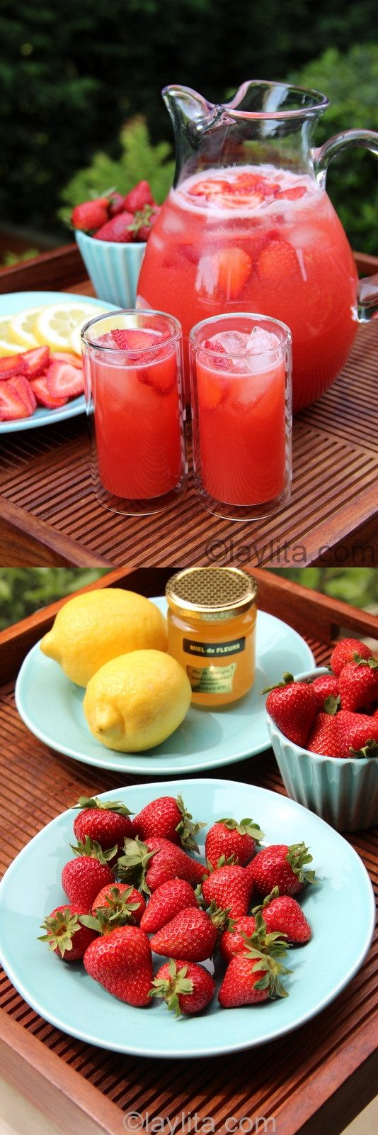 Strawberry Lemonade~ Homemade strawberry lemonade recipe, made in the blender using lemons, strawberries and honey.