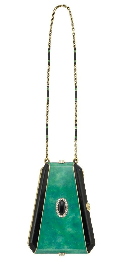 Art Deco Vanity - 1920s - Gold, Enamel and Diamond Vanity with Carrying Chain - Estate of Consuelo Vanderbilt Earl - Doyle New York