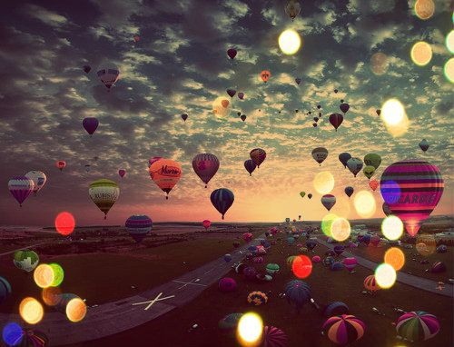 Hot Air Balloons at Sunset photography sky bokeh sunset lights balloons fly evening hot air balloon