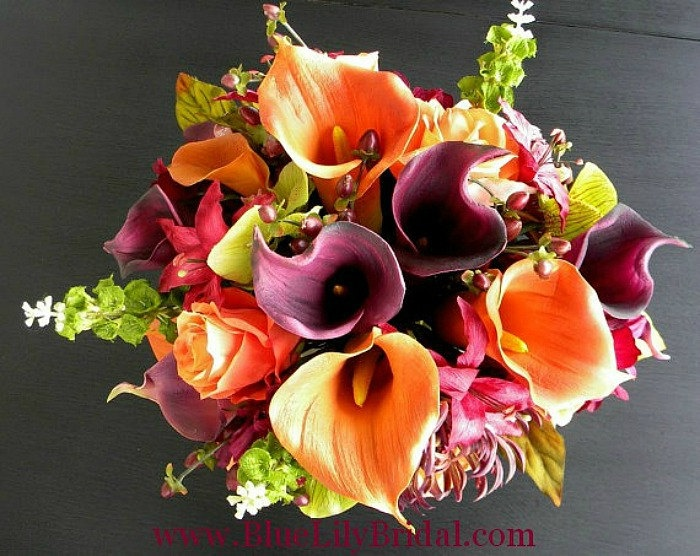 Real Touch Wedding Flowers in Orange, Sangria, Purple and Green-  Fall Wedding. $610.00, via Etsy.