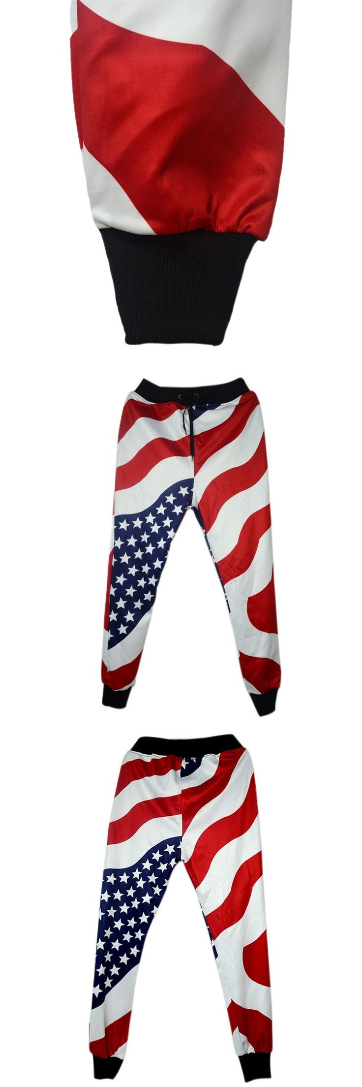 Spring Autumn mens Clothing  Hip Hop Dance trousers American Flag Stars Stripes Print casual mens joggers pants