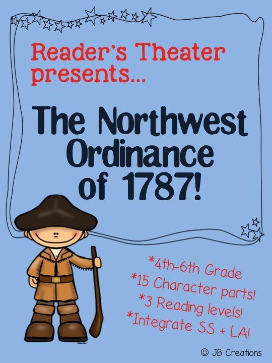 Watch history come ALIVE! This 15 part leveled Reader's Theater will engage all of your students! Learn the facts surrounding the Northwest Ordinance of 1787 in a fun and meaningful way for all intermediate aged students. They really will understand the events better by performing them! (I use it to meet my 4th grade standard!) https://www.teacherspayteachers.com/Product/Readers-Theater-Northwest-Ordinance-of-1787-1689943