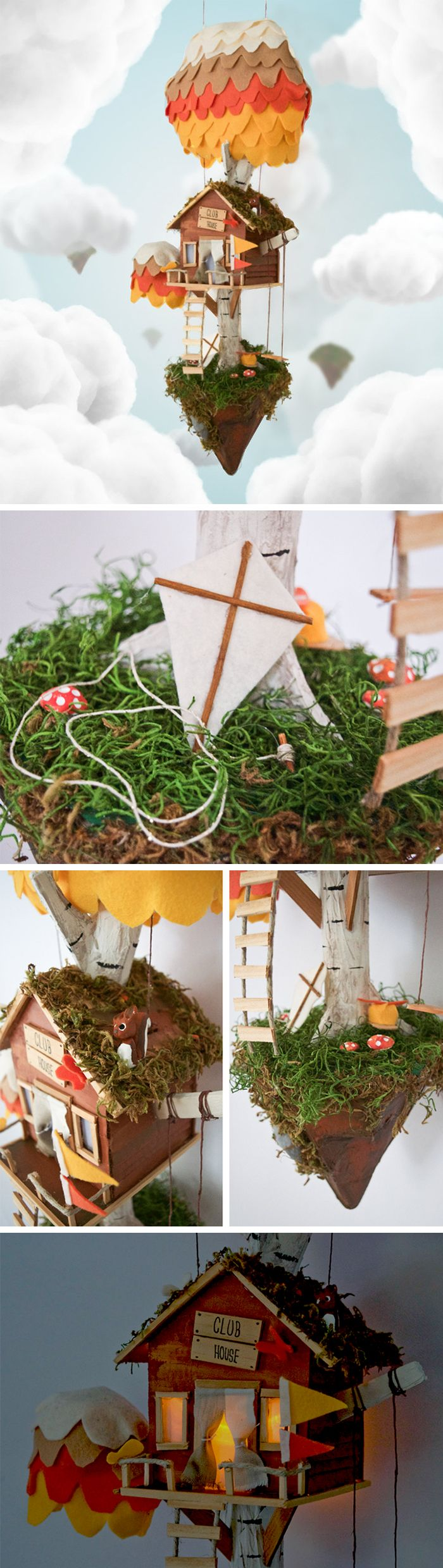 Floating Island Tree House | Nursery Decor | Cute Bedroom Nightlight | With a little magic and a gust of wind, this adorable floating island treehouse will soar in to give your nursery, kids room, or reading nook a delightful touch of whimsy. The windows and door give a soft glow at night using the small battery-operated LED. By DaydreamHunter on Etsy.
