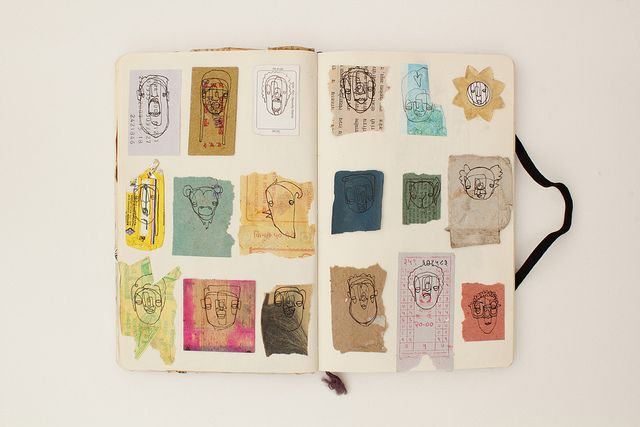small drawings on scraps.