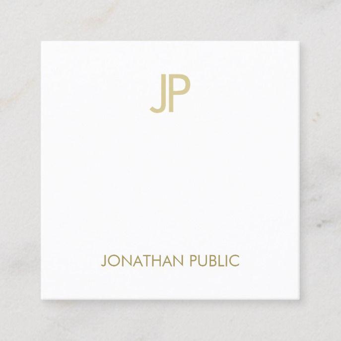 Creative Modern Gold Monogram Smart Plain Luxury Square Business