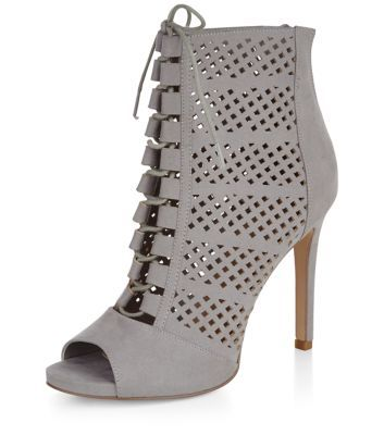 Grey Suedette Perforated Peeptoe Ghillie Heeled Boots