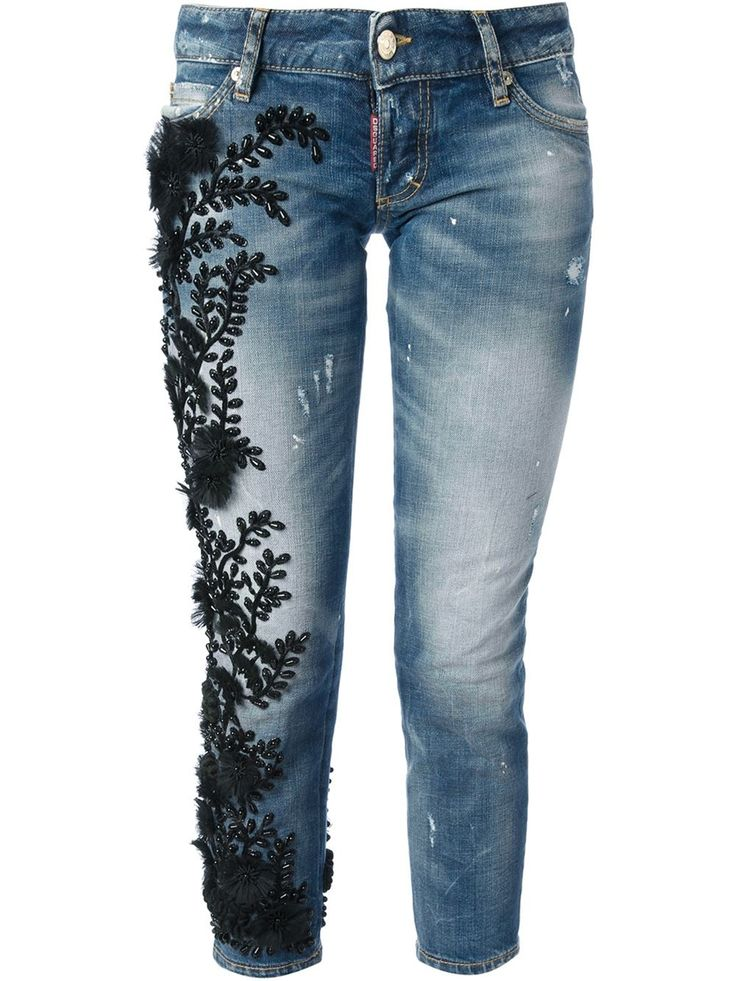 Embroidered and embellished: Dsquared Jeans available at Farfetch.com