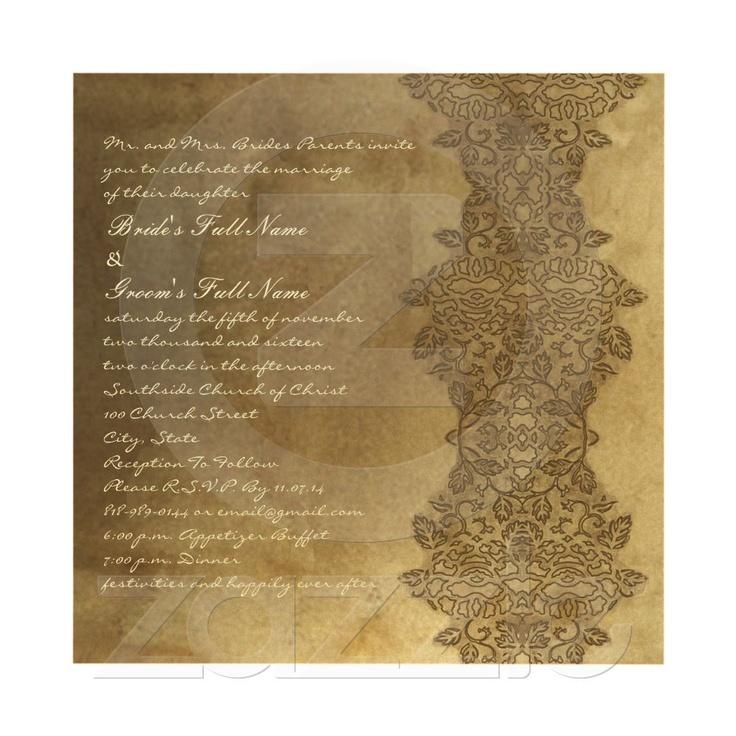 Square Brown Vintage Damask Wedding Invitation Damask