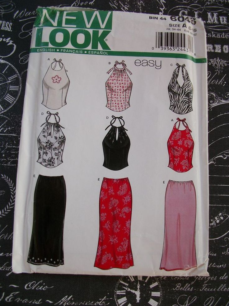 New Look Pattern 6043 Easy Skirt and Top Size A (6 - 16) Uncut. #NewLook