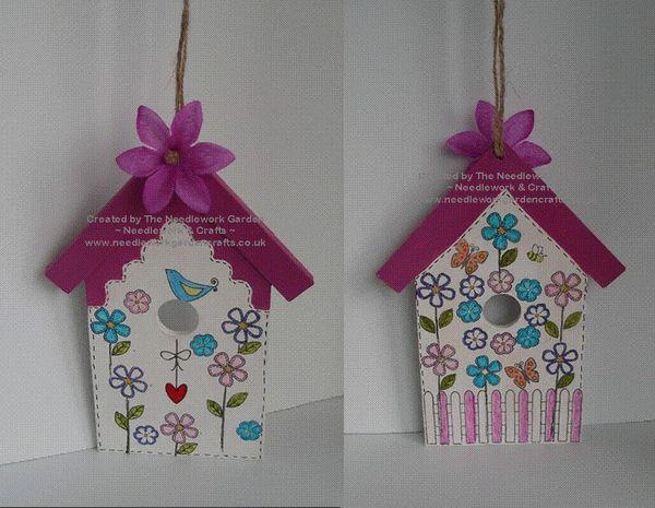 Floral Bird House using Inky Doodles Birdie 2 Stamp Set  www.needleworkgardencrafts.co.uk