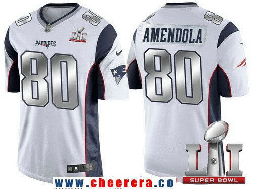 Men's New England Patriots #80 Danny Amendola White With Silver 2017 Super Bowl LI Patch Stitched NFL Limited Jersey