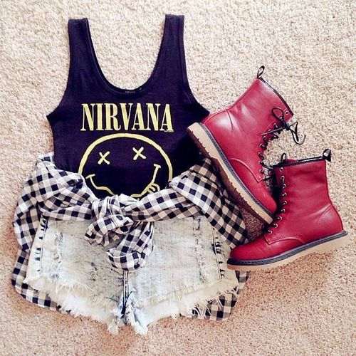 this is the perfect outfit! the Nirvana shirt i'm dying for. the shorts and shoes are so cute! plus the flannel to tie around