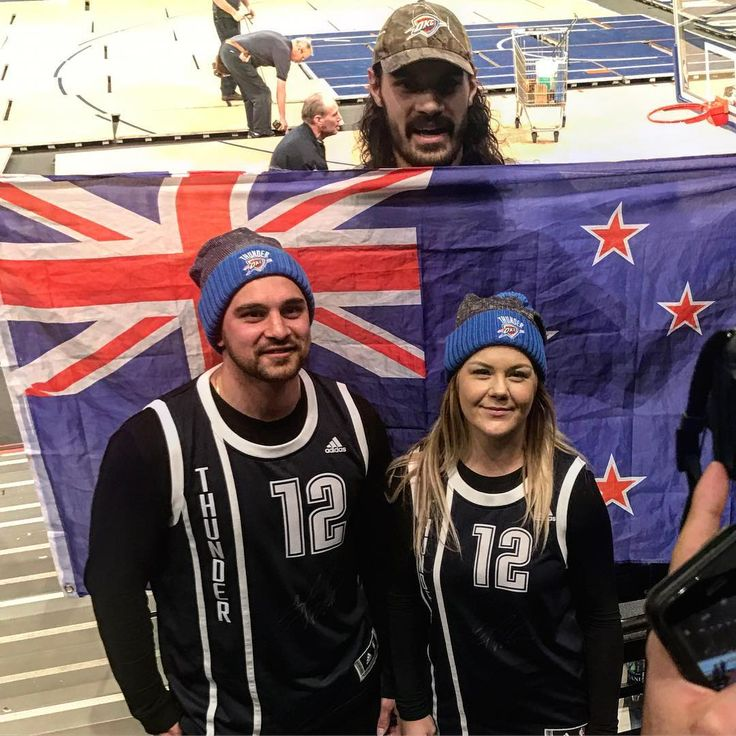 Steven Adams meeting fellow Kiwis after the Thunder game in NYC.