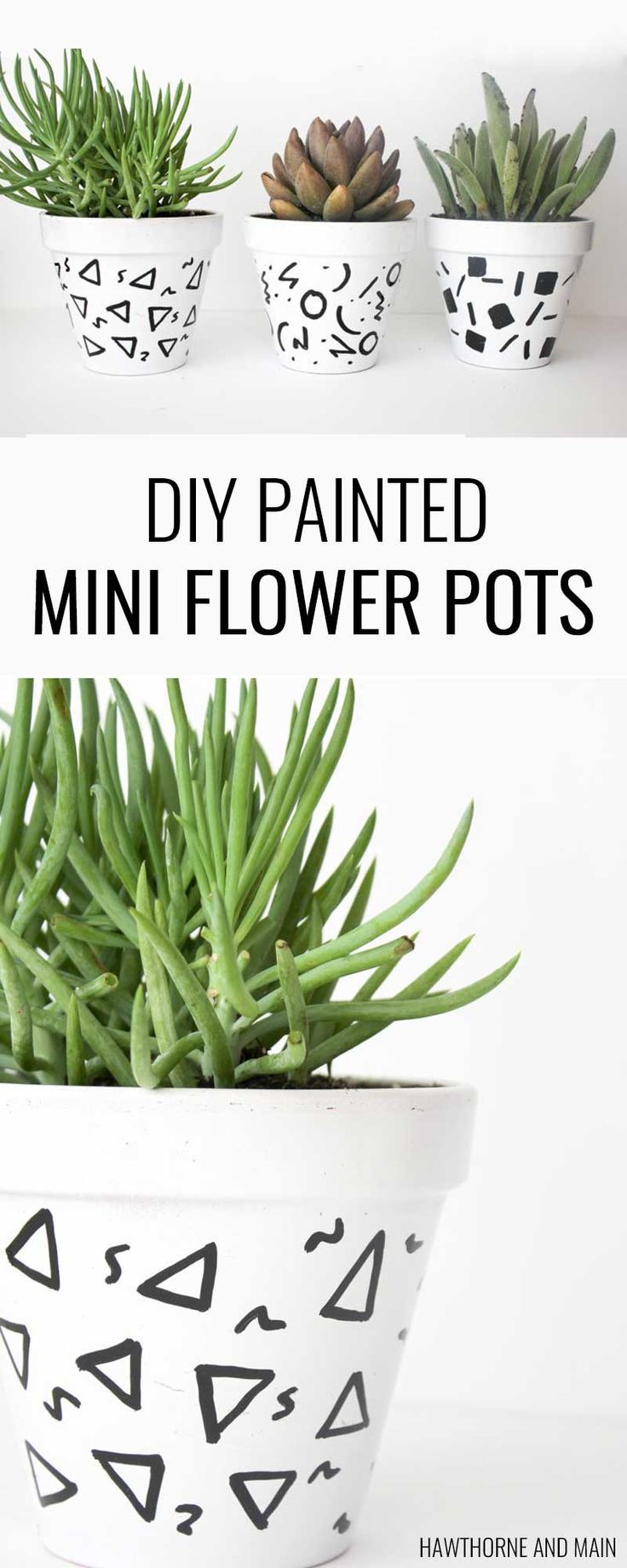 Love these super simple DIY mini flower pots. What a great afternoon craft or a great girls night craft project. Hopefully I can keep these alive this time!