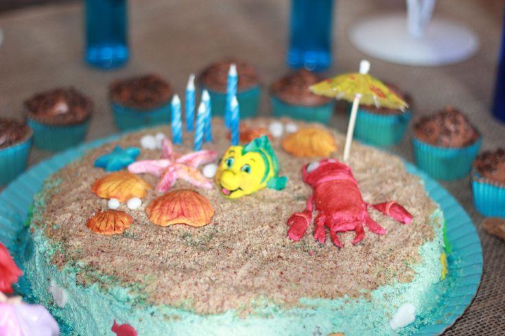 Bolo Fundo do mar festa pequena sereia:Ariel