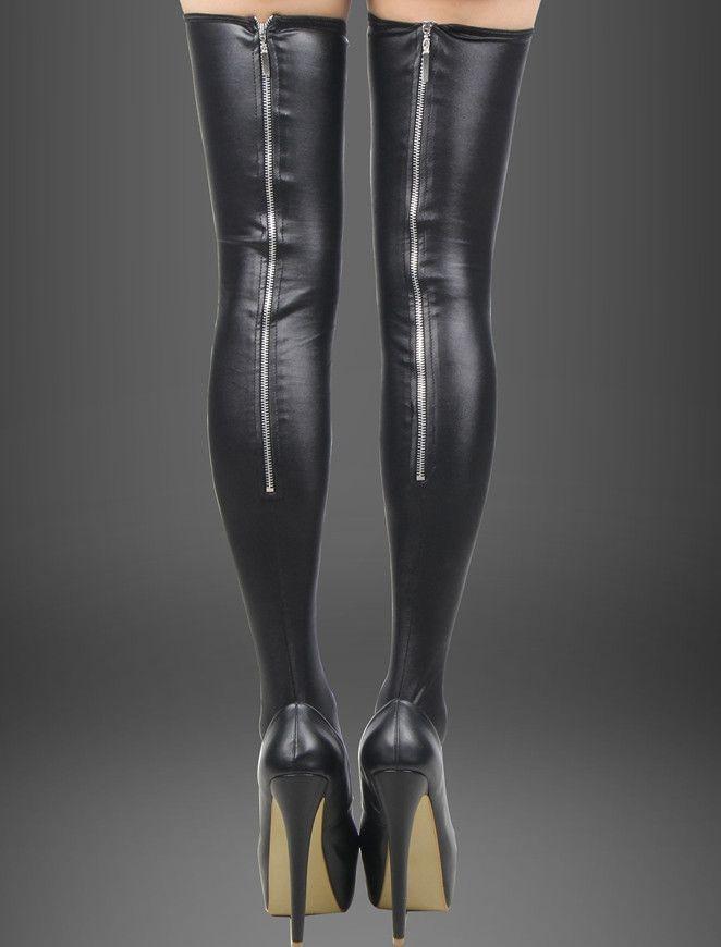 R80043 Popular super deal black leather stockings back zipper high quality women stocking brand new sexy lady trendy leg wear