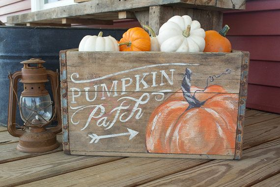 Fall Pumpkin Patch Crate  Upcycled  Upcycled by walnuttreelanellc