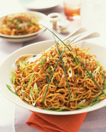 Spicy Sesame Peanut Noodles Recipe - Vegetarian Noodle Recipe - Spicy Vegan Noodle Recipe - Chinese Thai Food - Vegetarian Thai Noodles - use sunflower butter instead for Alexander