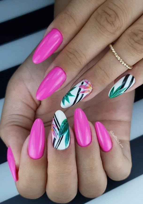 56 Lovely Acrylic Almond Shaped Nails To Inspire You This Summer Nails Design Almond Shaped Nails Designs Almond Shape Nails Pink Nails