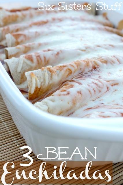The Easiest Enchiladas you will ever make! 3 Bean Enchiladas from http://Sixsistersstuff.com #enchiladas #beans #maindish