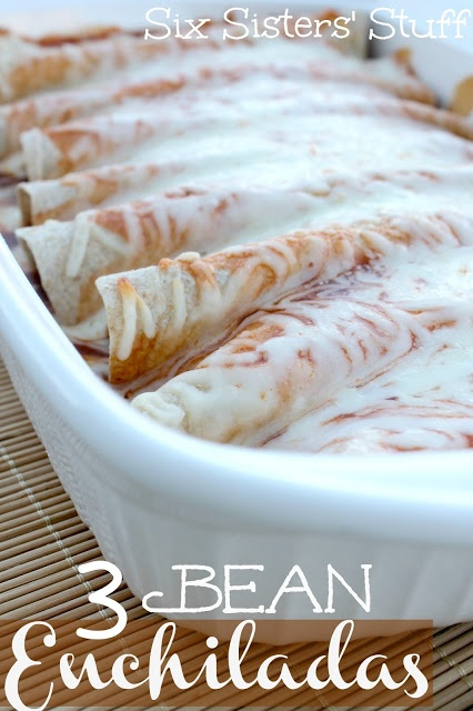 The Easiest Enchiladas you will ever make! 3 Bean Enchiladas from Sixsistersstuff.com #enchiladas #beans #maindish