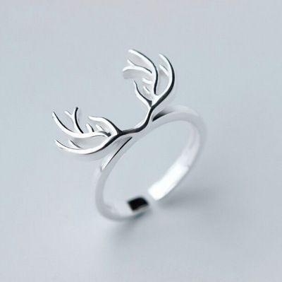 925 Sterling argent bois de cerf anneaux pour femmes nouveau Design belle filles cadeau de noël déclaration bijoux anneau de taille réglable dans Bagues de Bijoux sur AliExpress.com | Alibaba Group