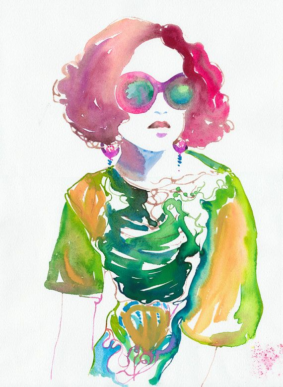 cool fashion illustration work, using only watercolor strokes--image via Etsy #zincdoor #watercolor #trend
