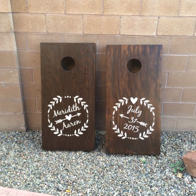 Wedding Cornhole.  Thanks Meridith C. for sharing your beautiful set of personalized wedding cornhole boards.