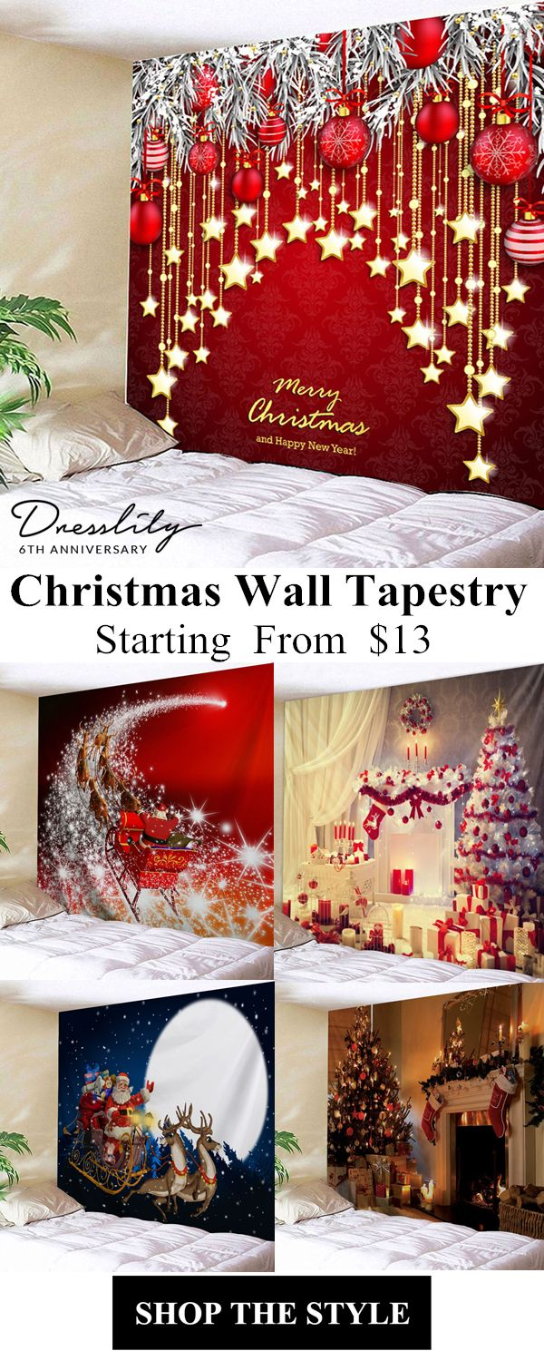 71ac08c90e4 Christmas Ball and Star Print Wall Hanging Tapestry.  dresslily  christmas