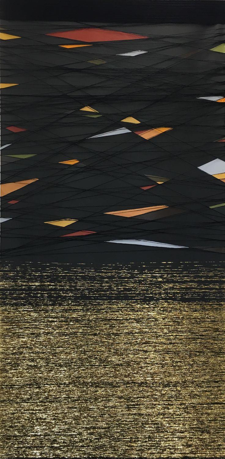 Mixed media, acrylic and thread on canvas 120x60.