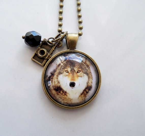 Wolf Photo Necklace Wolf Animal Pendant Wolf In by OxfordBright
