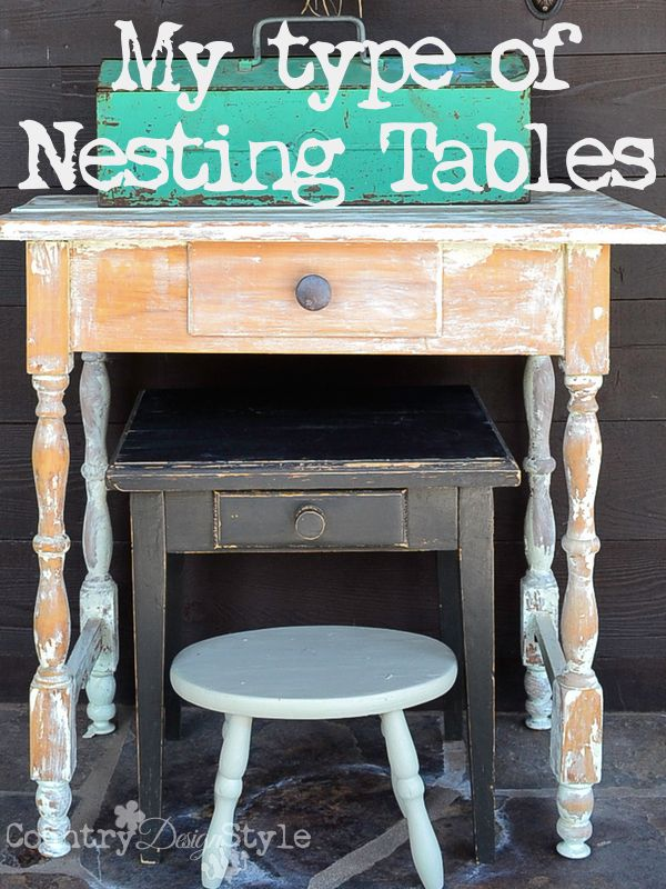 Do you love rustic like I do?  How about this for nesting tables?