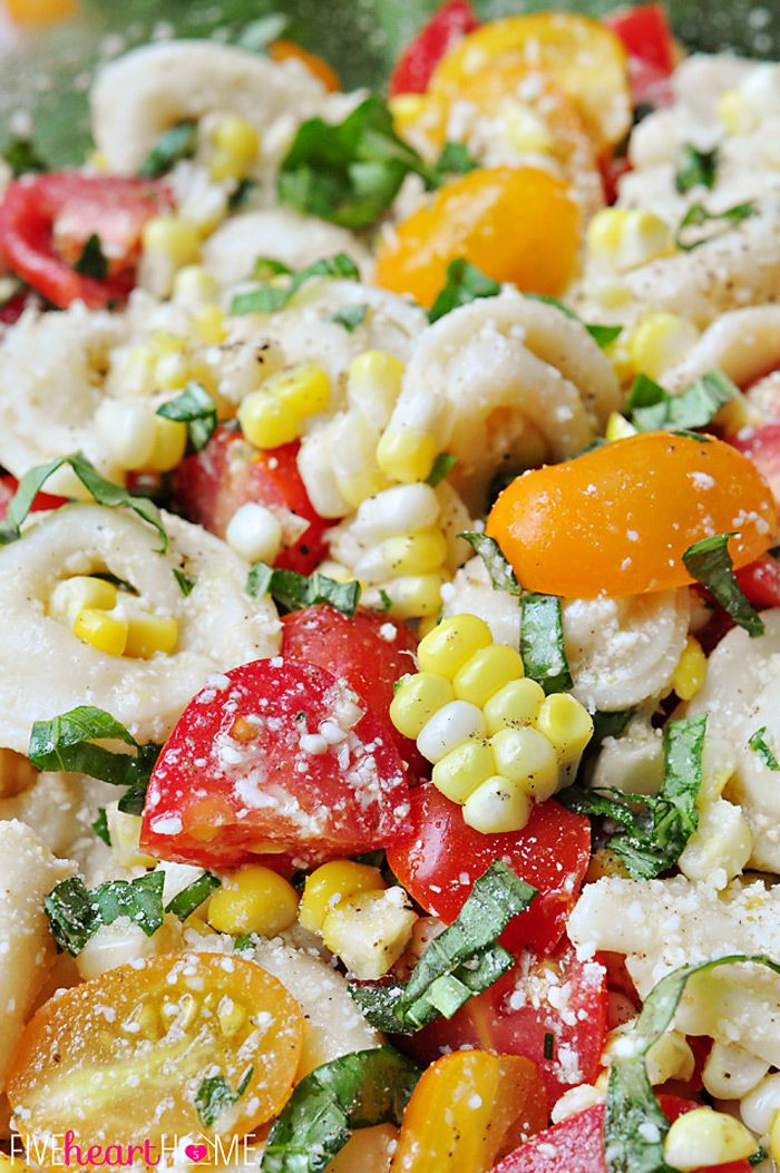 Tortellini Pasta Salad with Tomatoes, Basil, and Fresh Corn: a perfect summer side dish or light supper