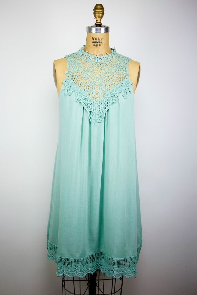 ENTRO Sage Seafoam Hobo Boho Lace/Crochet Bridesmaid/Party/Cocktail Dress - L #Entro #FormalCasualSundressBridesmaidTeaDressBohoHoboBohemianBeachDress #CasualFestiveCocktailBridesmaidFormal
