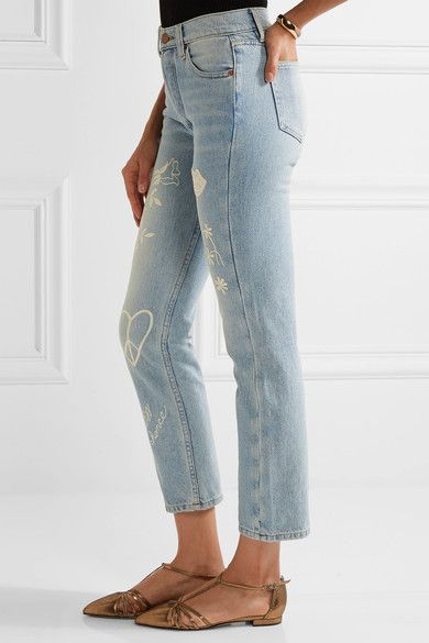 Bliss and Mischief - Study Hall Embroidered High-rise Straight-leg Jeans - Mid denim - 30