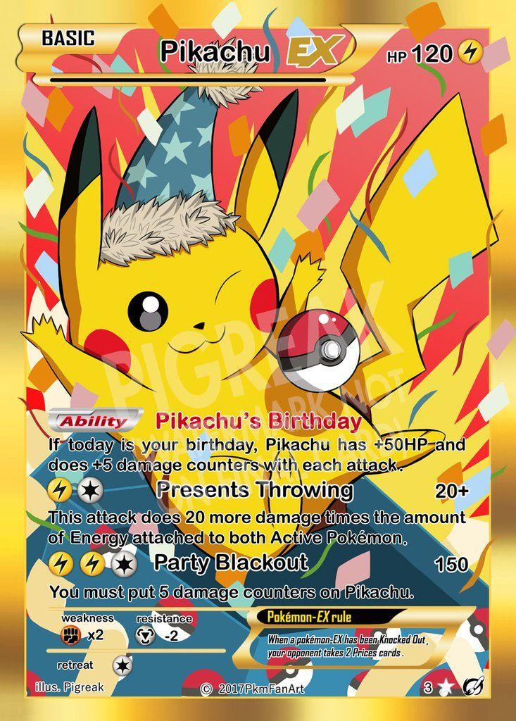 Birthday Pikachu Ex Pigreak Custom Pokemon Card Rare Pokemon Cards Pokemon Cards Birthday Pikachu