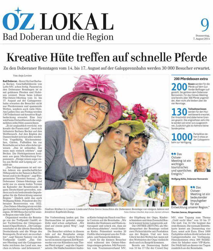 Kreative und Damen mit Hüten treffen auf schnelle Pferde   Kreative Hüte treffen auf schnelle Pferde – Ostsee Zeitung 2014 08 07