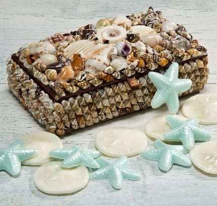 Hinged SEASHELL ENCRUSTED BOX holds a dozen sand dollar and starfish soaps.