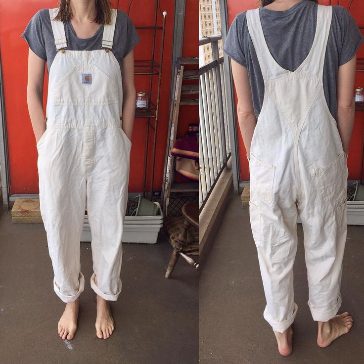 """Cream colored Carhartt overalls in good size- hard to find!  Size listed- 40x30 (kind of fit like a ilana kohn junpsuit IMO)  Measurements:  Waist 20  Inseam 28  Condition- good- missing one button (of 2 on right side closure), slight discoloration on knees, frayed hammer loop on back pocket. I can send pics of all. I think these are old- tag says """"made with pride in the USA""""  Price: 48  Shipping: 5  Instagram: chaperson"""